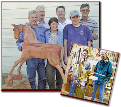 Graduating class of the Do It Yourself wooden rocking horse seminar.
