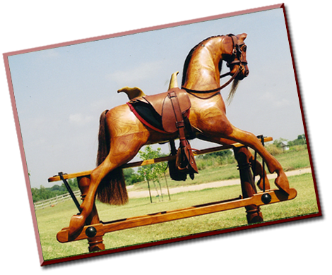 Wooden rocking horse by Al Carr in Fredericksburg, TX.